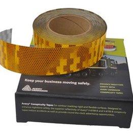 Avery 50 mtr Reflecterende tape - geel - voor harde ondergrond