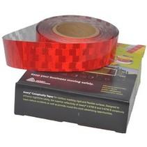 Per mtr Reflecterende tape - Rood - voor harde ondergrond