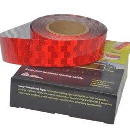Avery 50 mtr Reflecterende tape - Rood - voor harde ondergrond