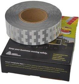 Avery 50 mtr Reflecterende tape - Wit - voor harde ondergrond