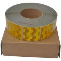 Per mtr Reflecterende tape - Geel - zachte ondergrond ( bijv. Huifdoek )