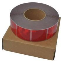 Per mtr Reflecterende tape - Rood - zachte ondergrond ( bijv. Huifdoek )