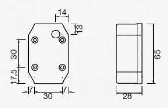 Aspock flexipoint breedtelicht (zonder snoer) technische tekening