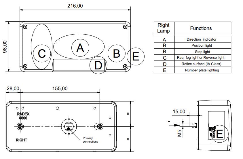 Radex 5500 verlichtingsset met 7 meter hoofdkabel - 13 polig - inclusief achteruitrijverlichting technische tekening