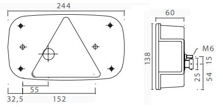 7-polige Aspock Multipoint 3 verlichtingsset met 7 meter hoofdkabel met 2 aftakkingen voor bijvoorbeeld markeringsverlichting technische tekening