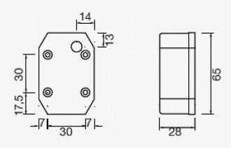 Aspock Flexipoint los glas rood/wit (kapje) technische tekening