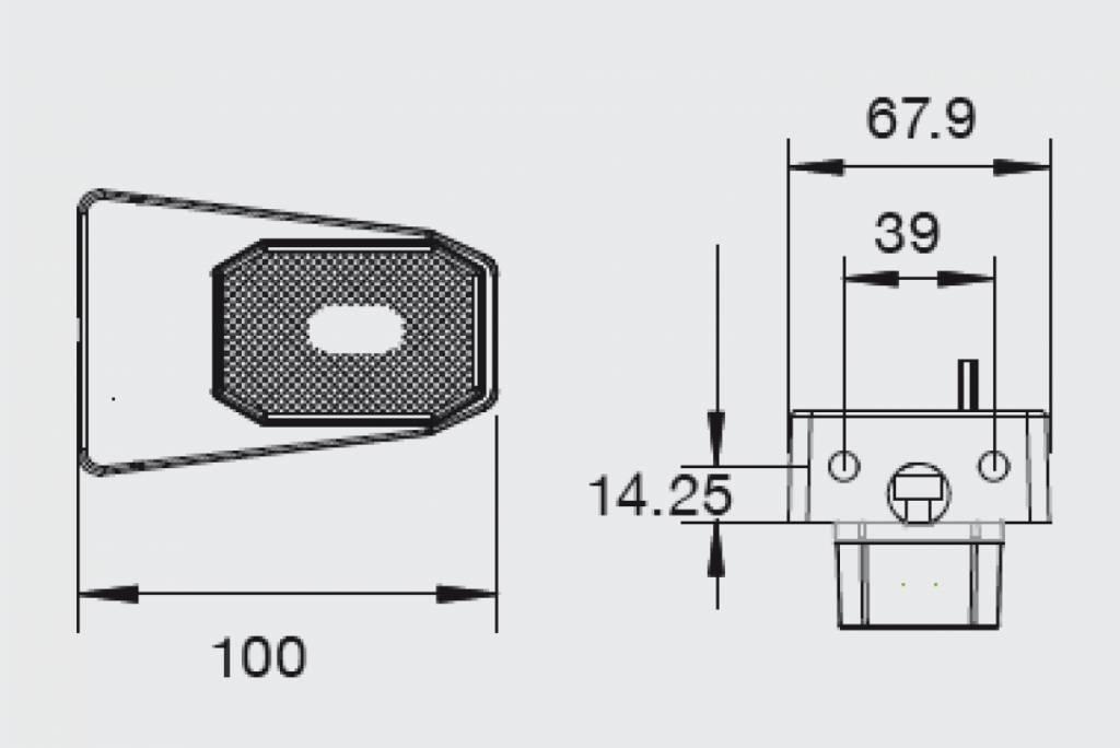 Aspock Flexipoint wit op houder met 50 cm platte kabel - 31-6569-037 technische tekening
