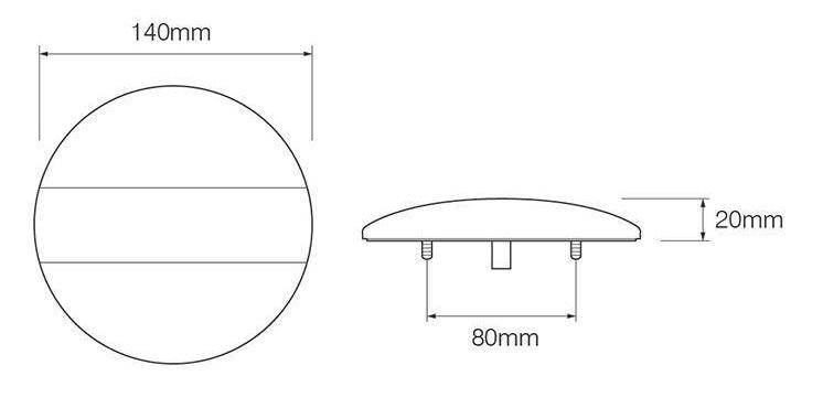 Achterlicht LED rond 140x20 mm - waterdicht E9 gekeurd