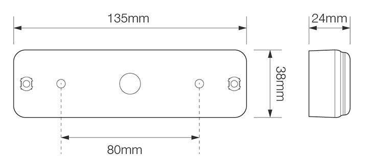 Technische tekening achterlicht LED 135x38x24 mm