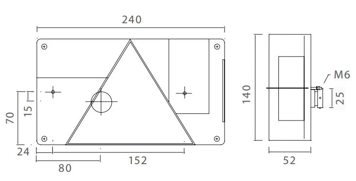 Aspock Multipoint 1 - Achterlicht - losse draad aansluiting technische tekening