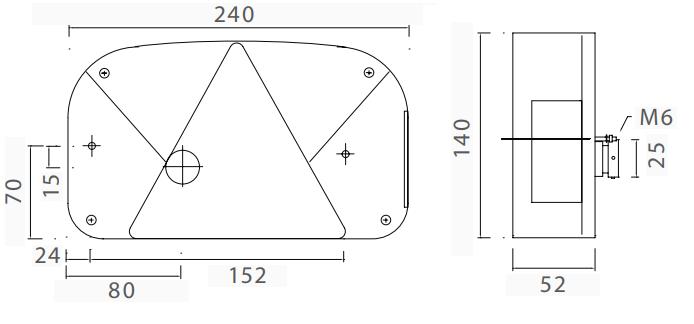 Los glas voor de Aspock Multipoint 2 lamp - technische tekening