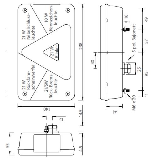 Aspock Multipoint 5 - links - inclusief mistlamp - connector aansluiting - technische tekening - 24-8500-007