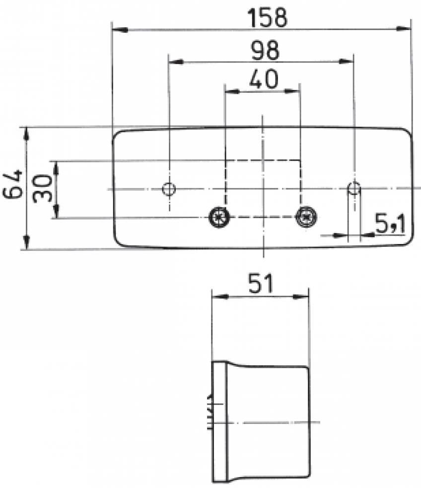 3 kamer achterlicht Rechts met kentekenverlichting 158x64x51 mm technische tekening