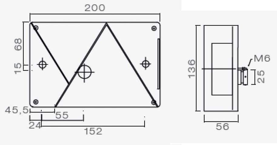 Aspock Multipoint 4 - rechts - voorzien van connector aansluiting technische tekening - 24-8610-007