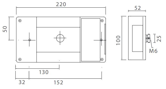 aspock midipoint 1 rechts technische tekening 220x100x52 mm