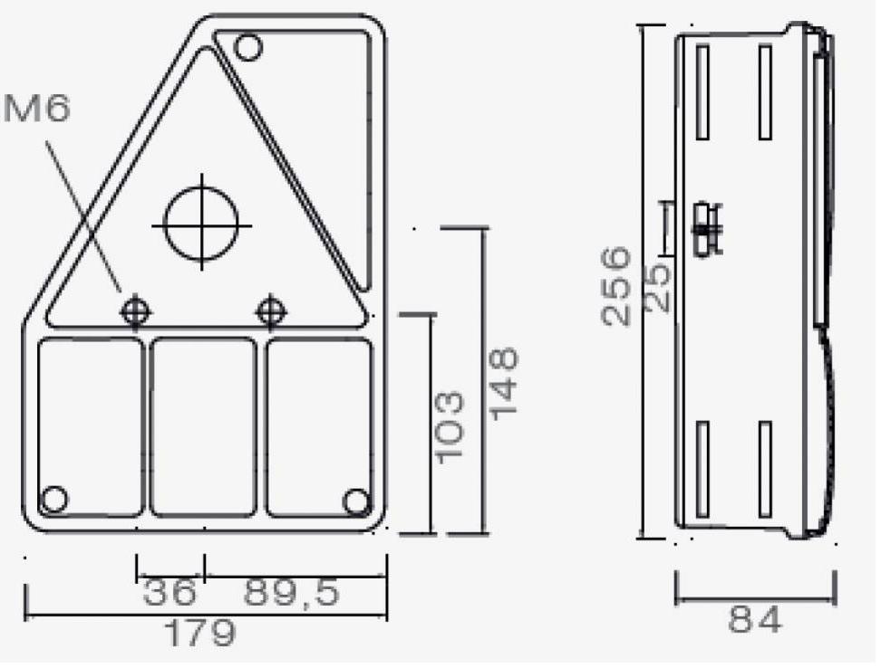 Aspock Earpoint 1 - links - connector aansluiting - 24-4001-007 - technische tekening