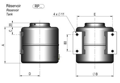Handpomp - verzinkt - 4 liter reservoir voor kipper  technische tekening - chapel hydraulique