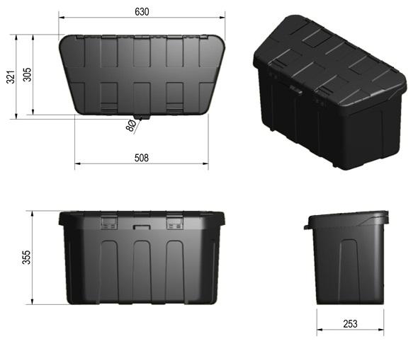 De Haan Profibox Plus - 630x321x355 mm - kunststof (PP, polypropyleen) technische tekening
