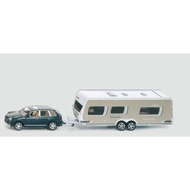 Siku 1:55 Auto met caravan en accessoires