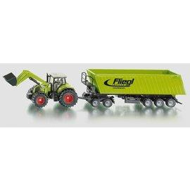 Siku 1:50 Claas Tractor met dolly en kieper