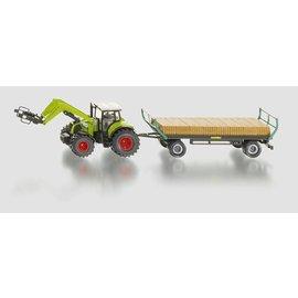 Siku 1:50 Tractor met balengrijper en aanhanger