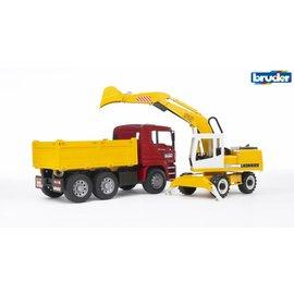 Bruder BF2751 - MAN vrachtwagen met Liebherr shovel