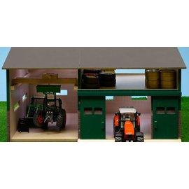 Kids Globe Tractorwerkplaats met berging (1:32/Siku)