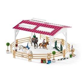 Ruiterschool met ruiter en paarden - 42389