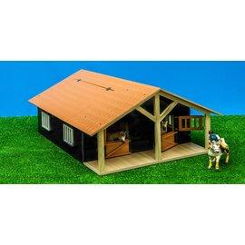 Kids Globe KG610167 - Paardenstal hout met 2 boxen en berging (1:24)