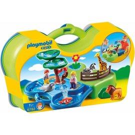 Playmobil pl6792 - Meeneem dierentuin met waterpartij