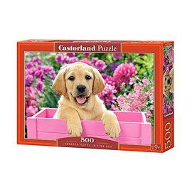 Castorland puzzels PUB52226 - Labrador puppy in pink box 500 stukjes