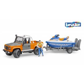 Bruder BF2599- Landrover Defender Pick Up met aanhanger en waterscooter