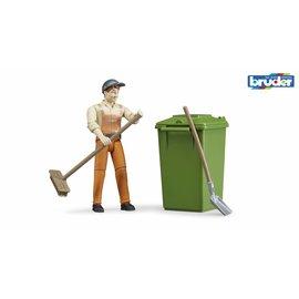 Bruder BF62140 - Figurenset stratenveger/vuilnisman met accessoires