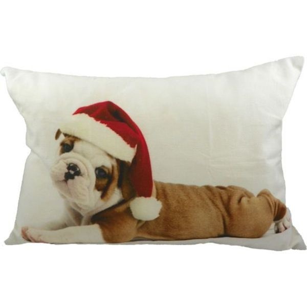 Half Sierkussen Canvas Kerst Bulldog