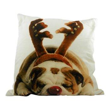 Sierkussen Canvas Kerst Engelse Bulldog Gewei