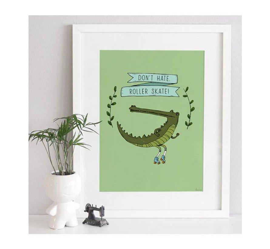 poster krokodil op rollerskates