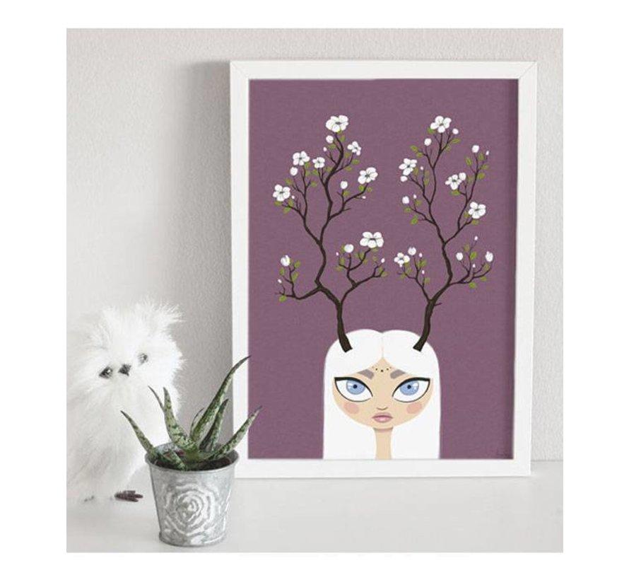 poster meisje met bloemengewei