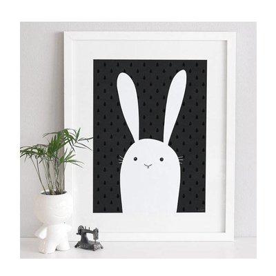 A Grape Design zwart/wit poster konijn