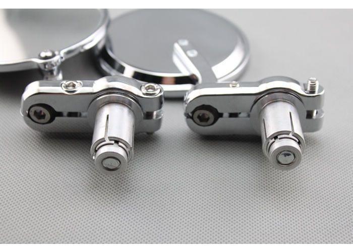"""3"""" Cafe Racer Lenkerspiegel Aluminium Verchromt"""