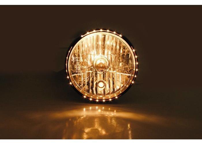 """Highsider 7"""" Reno 2 Hauptscheinwerfer mit LED Positionsleuchte im Lampenring Schwarz"""