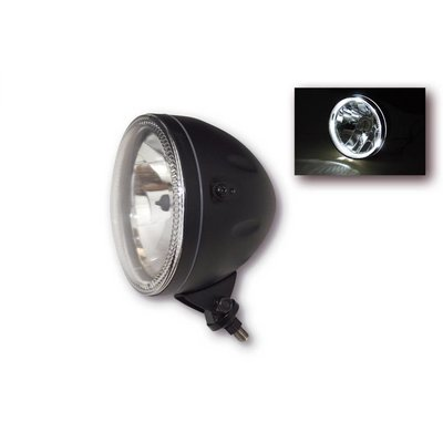 "Highsider Bottom Mount 5.75"" Halo Cafe Racer Headlamp H4, Black, E-mark"