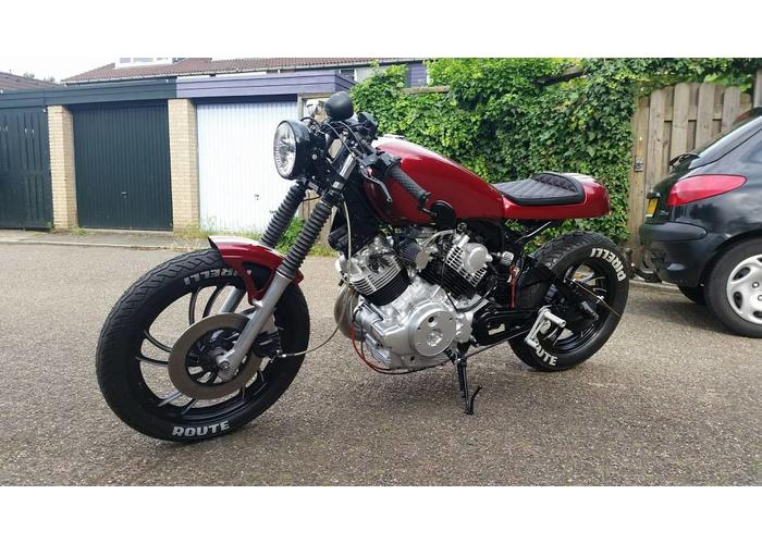 """6.5"""" Schwarz Motorrad Scheinwerfer LED Chrome Head Light Licht Blinker H4 35W 12V"""