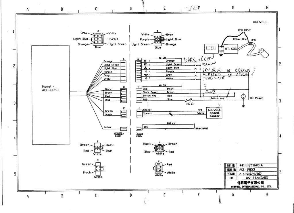 Motorcycle Speedometer Wiring Diagram : Acewell digital dash black chrome speedo ace