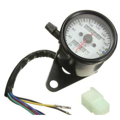 Black & White Speedometer with 3 Function Lights