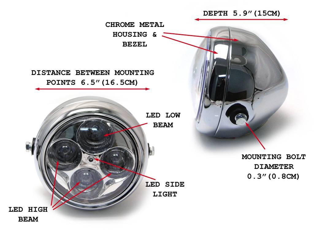5 5 projector cafe racer scheinwerfer verchromt. Black Bedroom Furniture Sets. Home Design Ideas