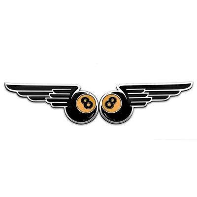 """Motone Paire de badges """"Winged 8-Ball"""" - Aluminium"""