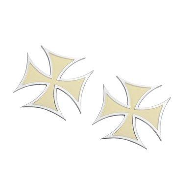 Motone Paire de badges Croix de Malte - Crème - Aluminium