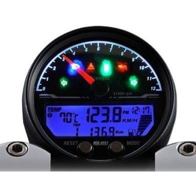 Acewell 4453 Speedo With Black Housing 12.000RPM