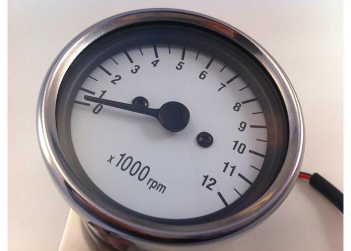 1:7 Mechanischer Drehzahlmesser Weiss / Chrom