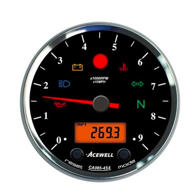 Acewell CA085 12.000RPM Speedo Black / Black